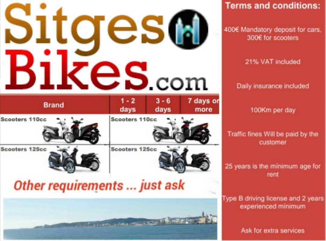 Sitges Moped Moto Motorbike Rental Hire